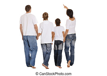 Family of four standing on white background Back view
