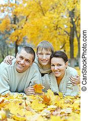 familia, N, el, otoño, parque,