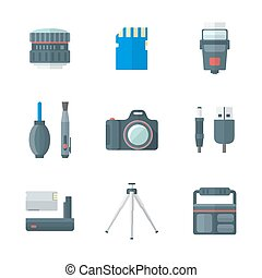 color flat style isolated digital photography tools icons