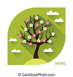 Seasonal illustration with spring tree in flat style. -...