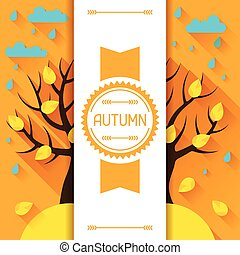 Seasonal illustration with autumn tree in flat style. -...