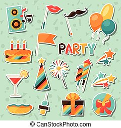 Celebration set of party sticker icons and objects.