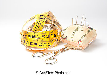 tools for sewing - Needles, tape measure and scissors:...