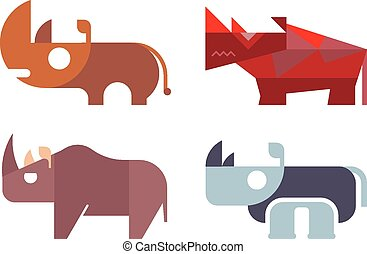 Rhino vector - Rhino, rhinoceros - isolated vector icons on...