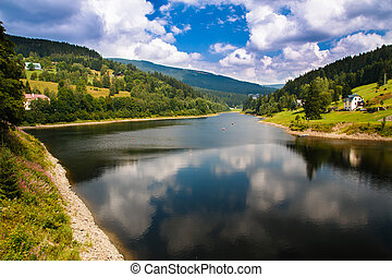 Spindleruv mlyn - Lake over dam in Spindleruv mlyn in...