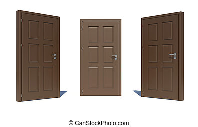 Three brown 3d door locks and doorhandle. Isolated on white...