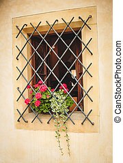Small cute window with forged lattice in european style