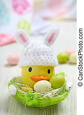 Easter decoration with little duck and eggs - Easter...