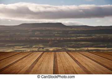 View of Pen-y-Ghent in Yorkshire Dales National Park England wit