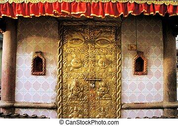 Carved golden door, Kathmandu, Nepal