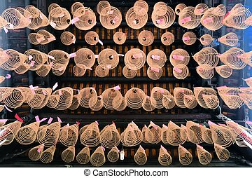Spiral Incense in Buddhist Pagoda Saigon, Vietnam - Spiral...