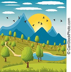 Beauty landscape with mountain background - Illustration of...