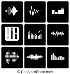 Vector black music soundwave icon set on black background