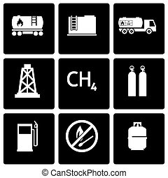 Vector black natural gas icon set on black background
