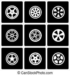 Vector black wheel icon set