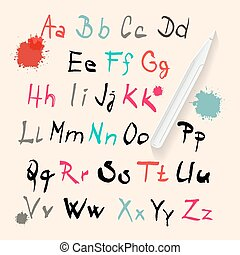Funky Vector Hand Written Alphabet Set Isolated on Retro...