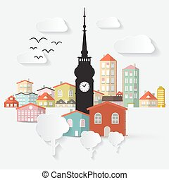 Abstract Vector Paper Cut Flat Design Town Illustration with Tower