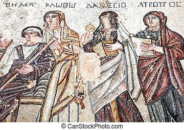 King Peleus, Roman mosaic - King Peleus from the 4th century...