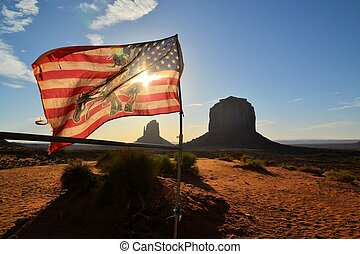 American Flag at Monument Valley
