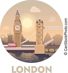 Travel destination London - Vector icon representing London...