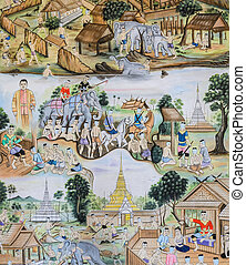 Thai mural painting art - Thai mural painting of Thai people...