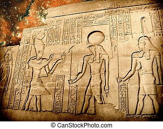 Bas-relief of Sobek temple at Kom-Ombo and small Magellanic...