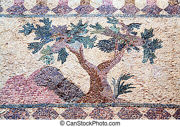 Roman Mosaic, Paphos, Cyprus - Tree from a 4th century Roman...
