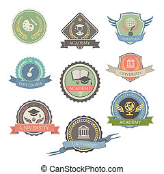 University Emblems And Symbols - Isolated Illustration,...