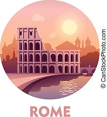 Travel destination Rome - Vector icon representing Rome as a...