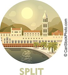 Travel destination Split - Vector icon representing Split as...