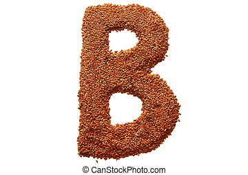 letter b - on a white background from flax seeds lined...