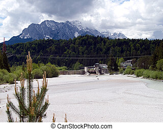 wetterstein mountains in the - bavarian alps with river isar...