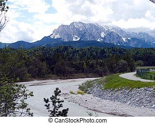 wetterstein alps in bavaria - wetterstein alps with river...