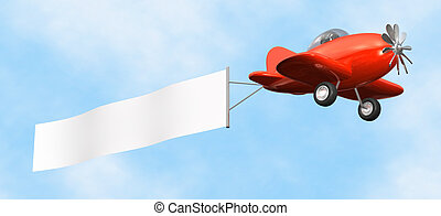 Airplane with Banner - isolated - 3D cartoon like old...
