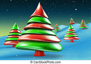 Green and red candy abstract christmas tree greeting concept