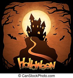 EPS 10 Halloween background with moon and bats. - Picture...