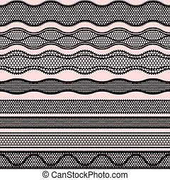 Lace seamless borders. Vector set of elements for design