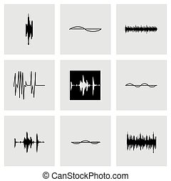 Vector music soundwave icons set on grey background