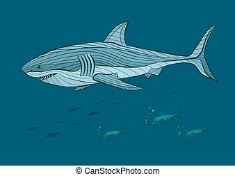 Decorative white shark in the sea with fish