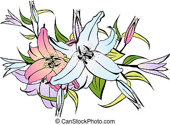 Lily Flower Bouquet - Illustration of Multicolored Lily...