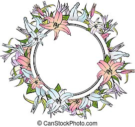 Lily Flower Round Frame - Illustration of Multicolored Lily...