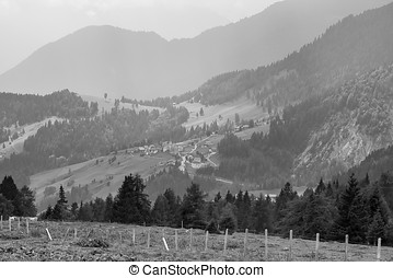 Alpine landscape - Black and white scenic view of...