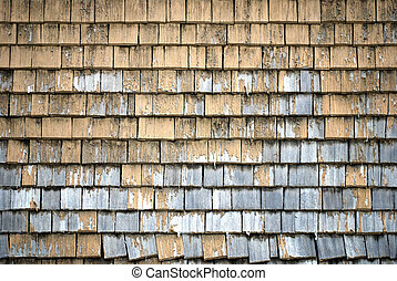 detailed view on a shingled wall of bavarian farmhouse