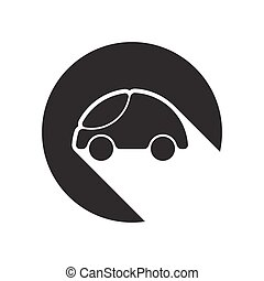 icon-car and white stylized shadow