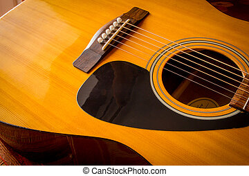 Acoustic Guitar Sound Hole and Strings - Large acoustic...