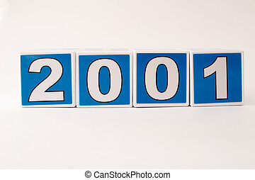 2001 Child's Building Block - The year 2001 in simple child...