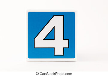 Number 4 Childs Building Block - Number 4 in a simple child...