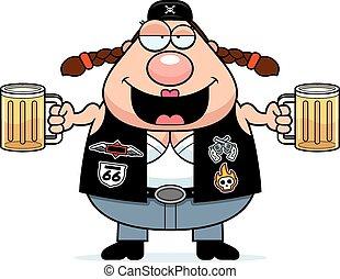 Drunk Cartoon Biker Woman - A cartoon illustration of a...