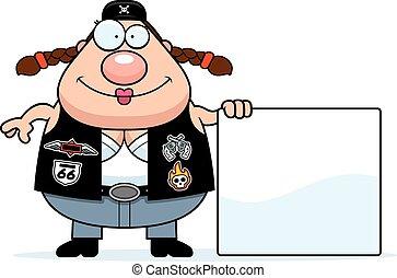 Cartoon Biker Woman Sign - A cartoon illustration of a biker...
