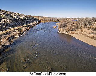 aerial view of South Platte River at Wildcat Mound in...